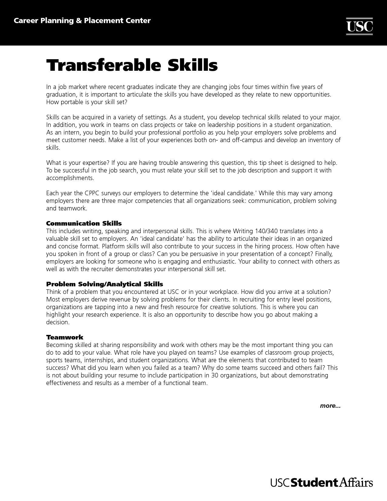Resume Sample Transferable Skills