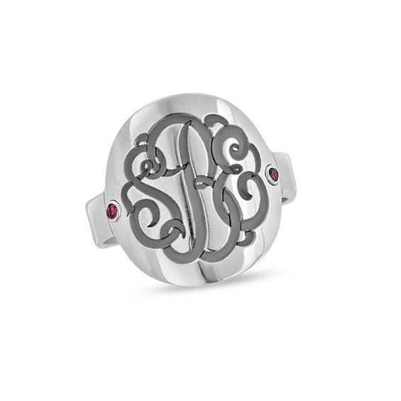 Zales Multi-Finish Circle Split Shank Monogram Ring in Sterling Silver (3 Initials) QNptFxjLxF
