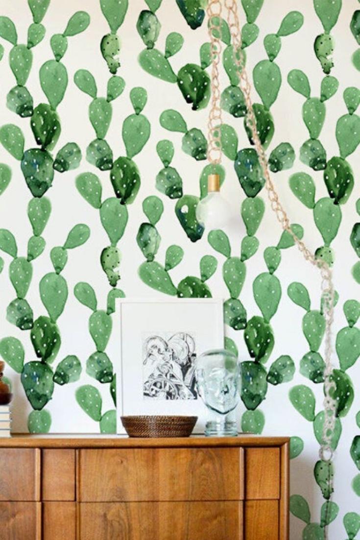 Self Adhesive Removable Cactus Wallpaper Cacti Wall Mural Peel And Stick Fabric Wallpaper Custom Design Wall Mural 8 In 2020 Wall Design Fabric Wallpaper Mural