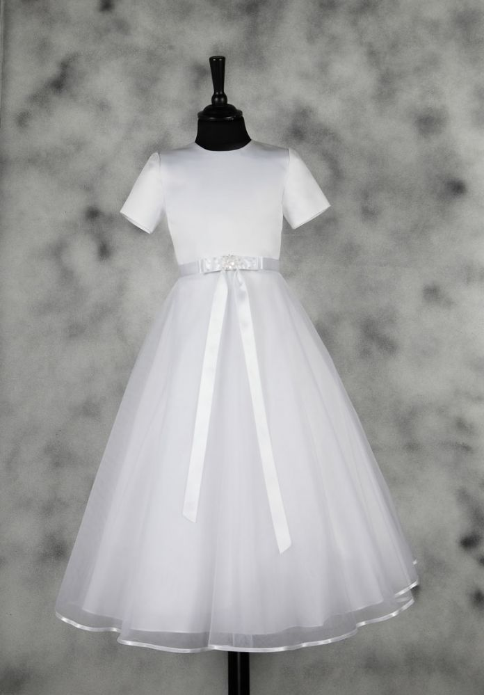 4602c6b505e84 Plain and Simple First Communion Dress - Short Sleeve Satin and Organza -  Annabelle - 1212070 - Isabella - New 2015 - Girls Communion Dress Shop