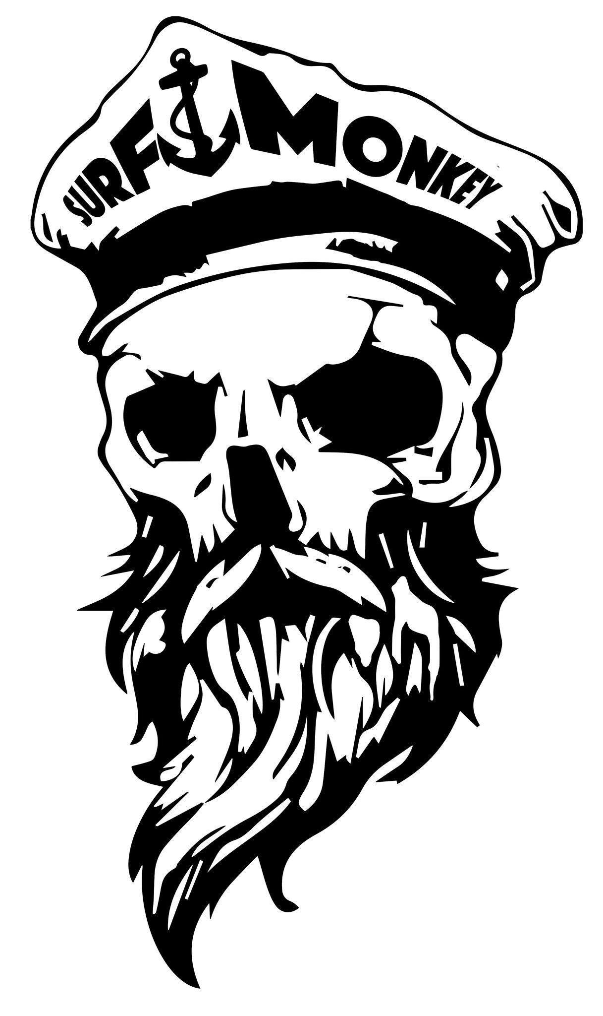 Bearded skull decal sticker surfmonkey beard grooming sticker design skull and bones skull