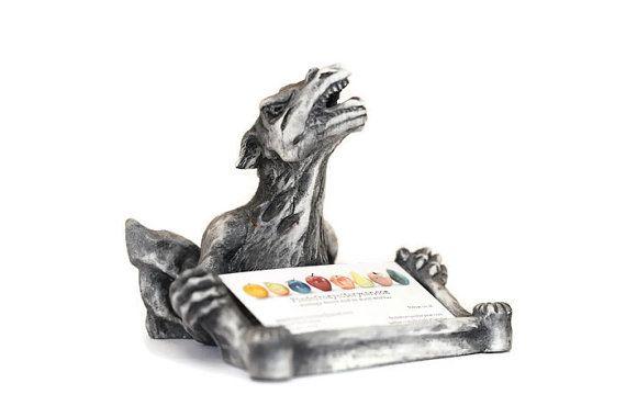 Dragon Business Card Holder, Dragon Business Card Stand, Desk Accessory, Office Decor, Fantasy Creat #etsy #vintage #iartg #etsyretwt #asmsg #EtsyGifts