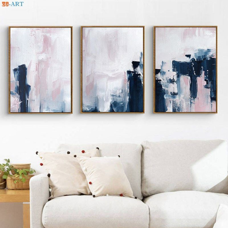 Modern Canvas Painting Pink Navy Blue Wall Art Abstract Art Posters And Prints Wall Pictures For Livin Living Room Prints Blue Wall Art Artwork For Living Room