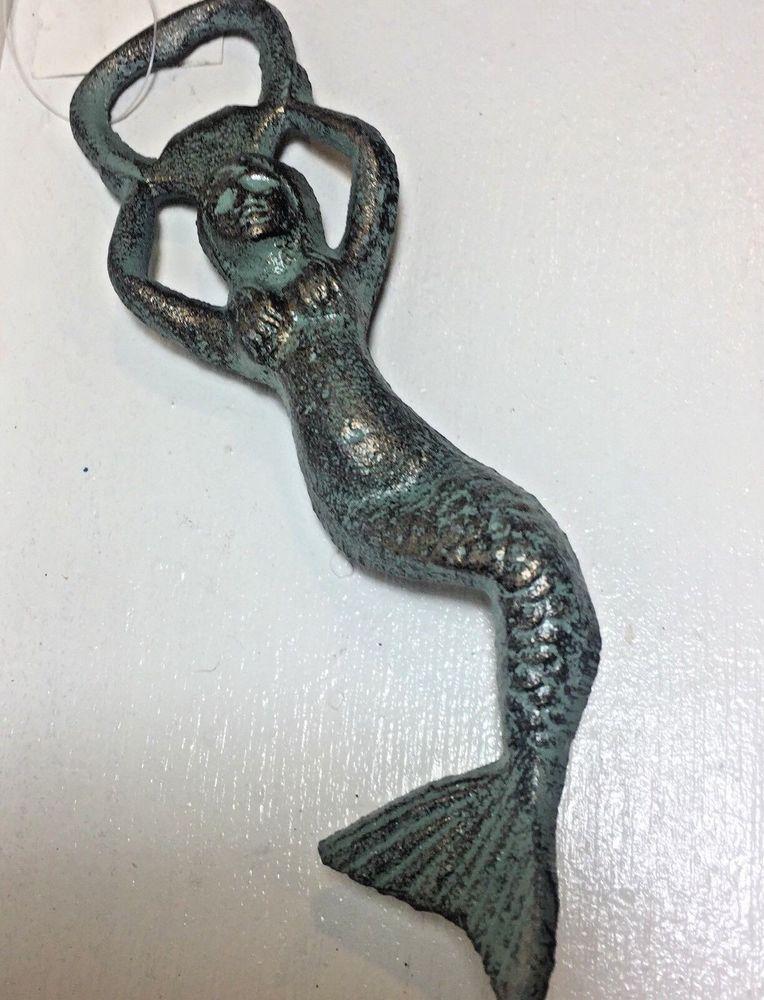 Mermaid Bottle Opener Beer Sofa Nautical Blue Green Gold Cast Iron