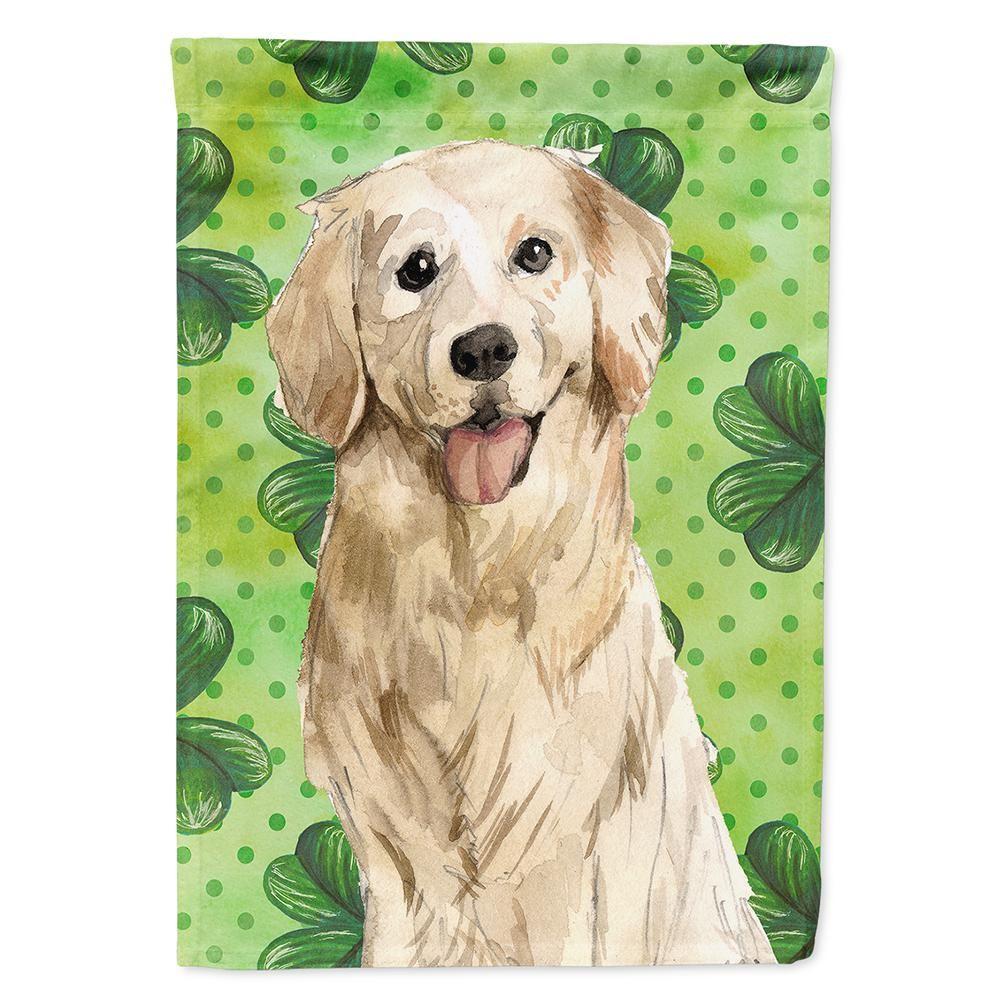 Caroline S Treasures 11 In X 15 1 2 In Polyester Shamrocks Golden Retriever 2 Sided 2 Ply Garden Flag Ck1804gf The Home Depot Golden Retriever Retriever Dog Breeds