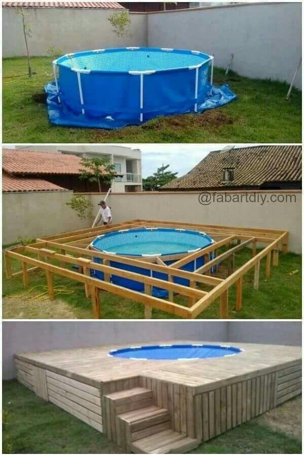 Pin Von J5 Mcclain Auf Ideas Garten Pool Selber Bauen Poolumrandung Holz Pool Terrasse