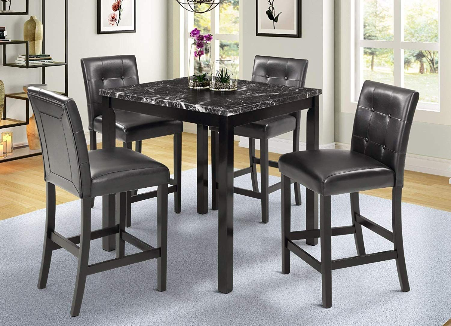 5 Piece Counter Height Dining Set Kitchen Table Furniture Set With
