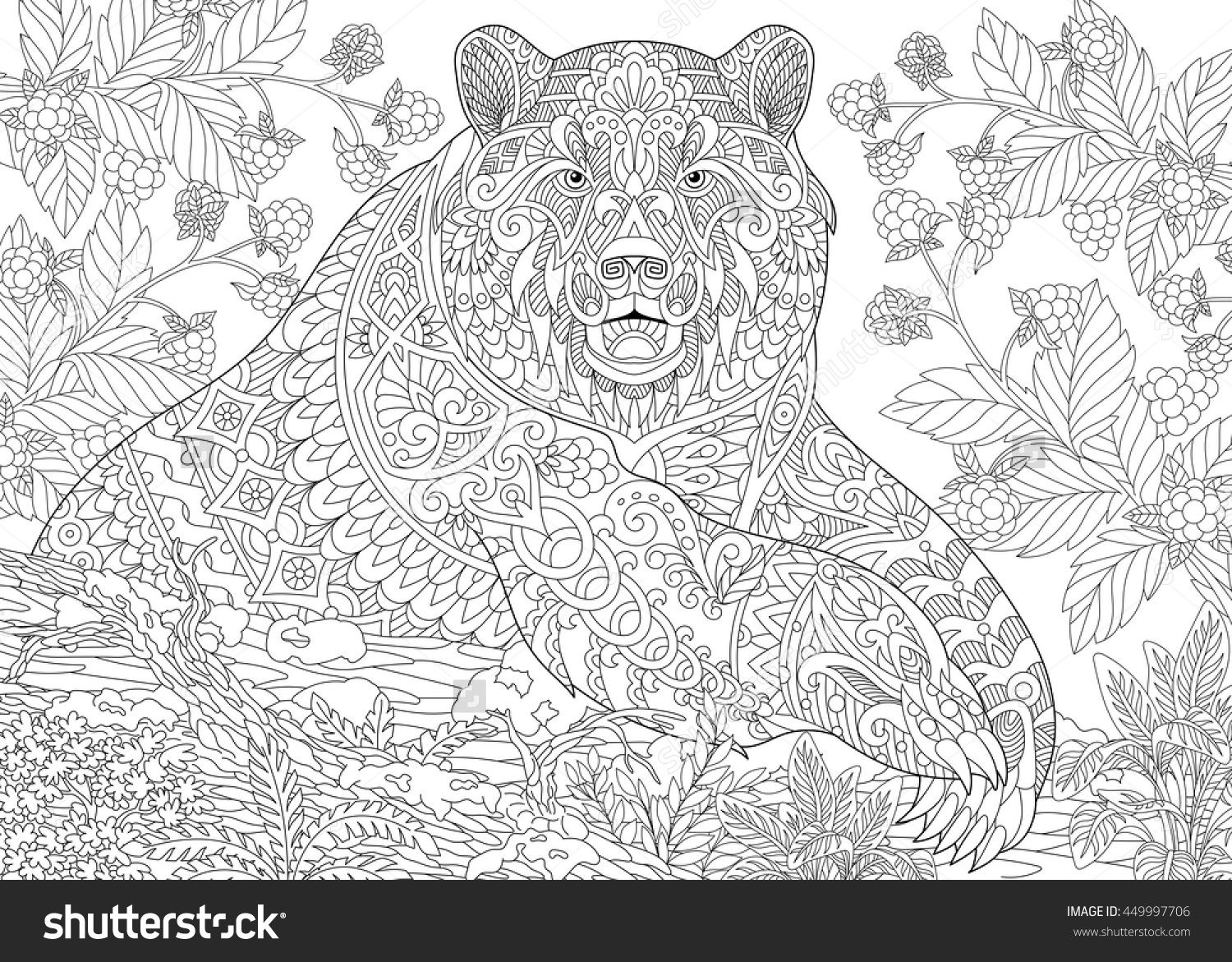 Stylized Grizzly Bear Among Blackberries Or Raspberries In ...