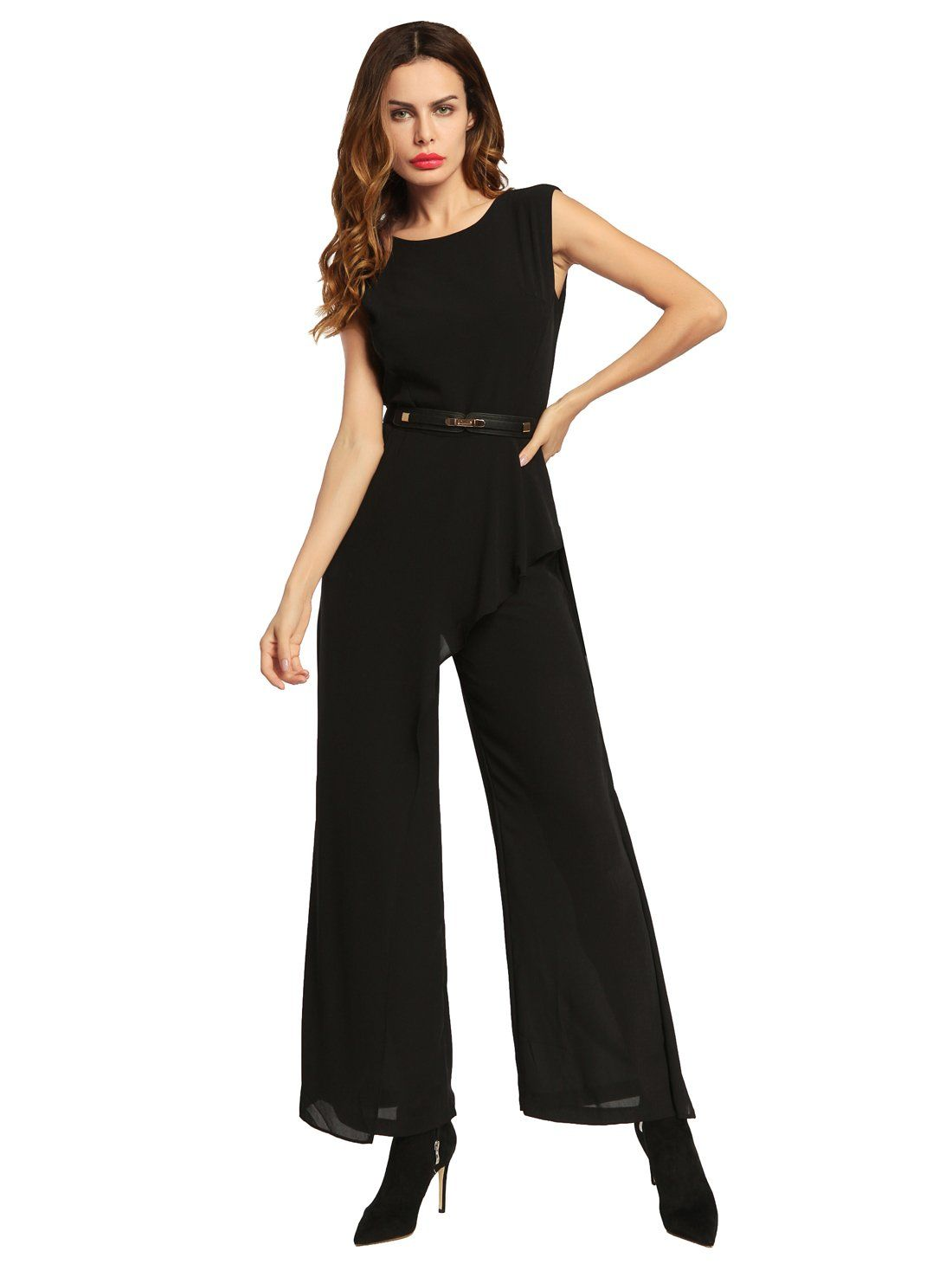 027d84e858785 OEUVRE Womens Modern Stylish Black Sleeveless Round Neck Bodycon Jumpsuit  with belt Black M     More info could be found at the image url.