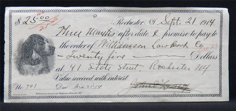 Bank Check or Promissory Note 1914 WILLIAMSON LAW BOOK CO Dog - promissory note parties
