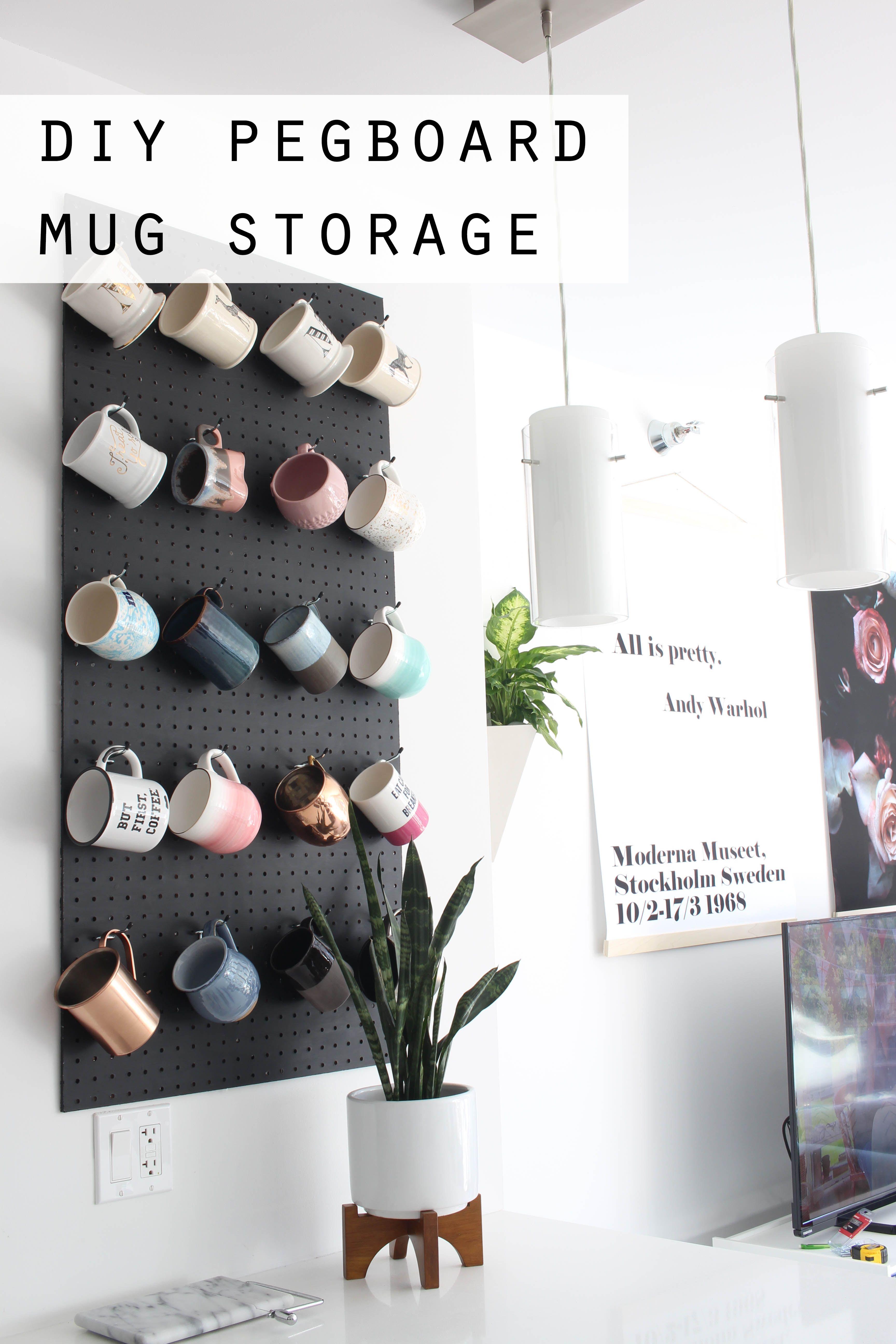 Diy Pegboard Mug Storage Mug Storage Peg Board Diy Peg Board