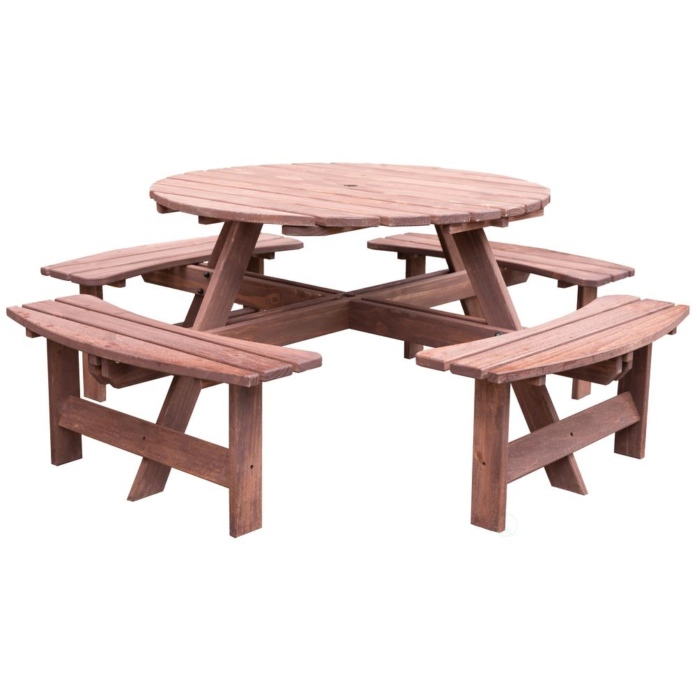 Gardenised 8 Person Brown Round Wooden Outdoor Patio Deck Garden Picnic Table Qi003468l Br The Home Depot Wooden Picnic Tables Wooden Outdoor Table Round Picnic Table