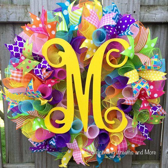 Spring Wreath Deco Mesh Monogram Wreath by WelcomingWreathsMore