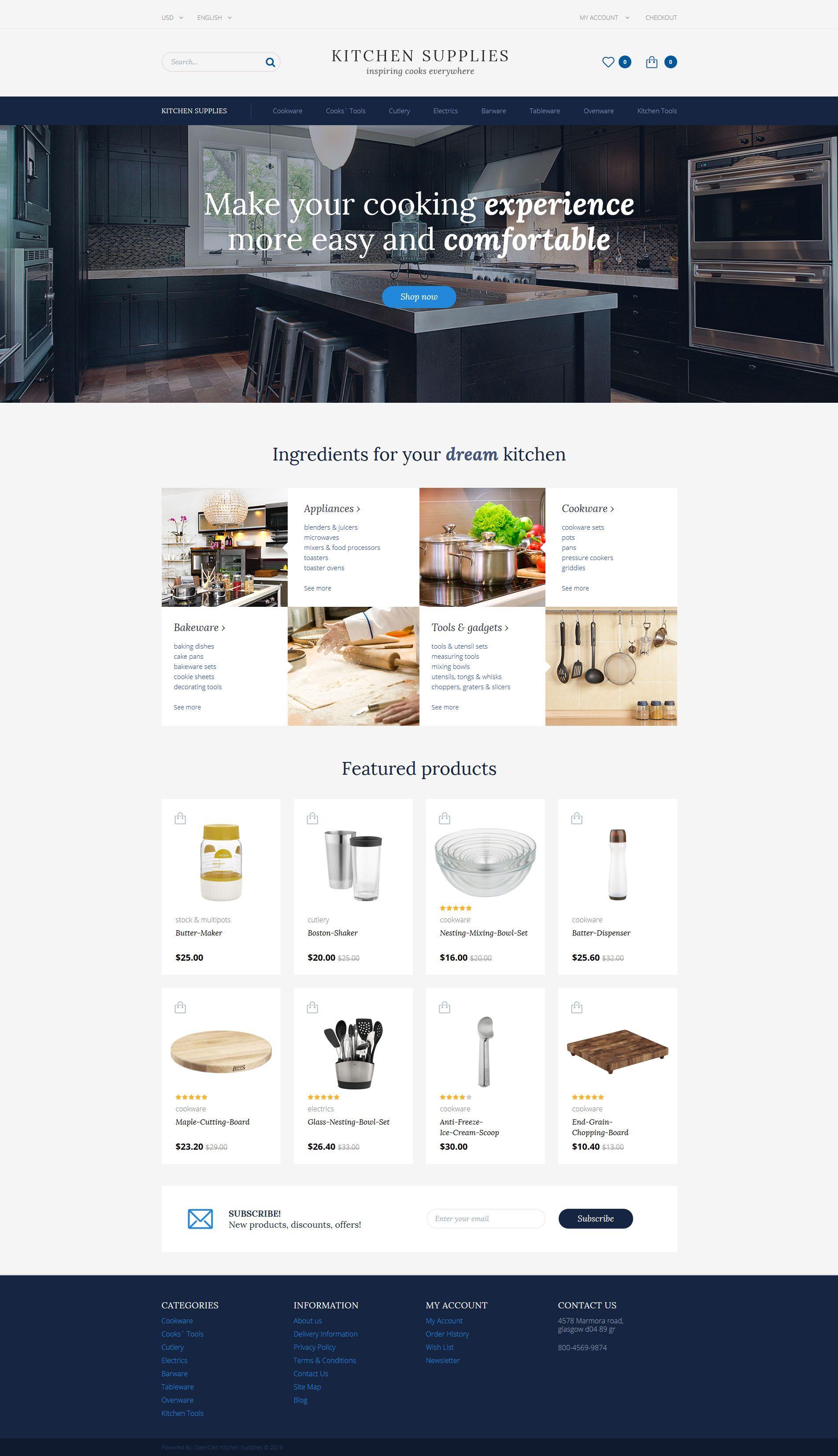 Kitchen Supplies Furniture Opencart Template Rtl