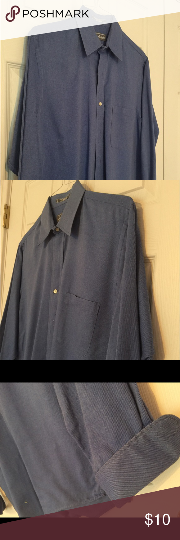 Men's Dresden-blue French cuff dress shirt Very pretty Dresden-blue dress shirt with French cuffs. Good condition and would be perfect under a nice men's suit! Lord & Taylor Shirts Dress Shirts