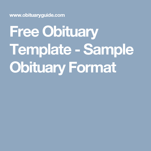 Free Obituary Template  Sample Obituary Format  Info