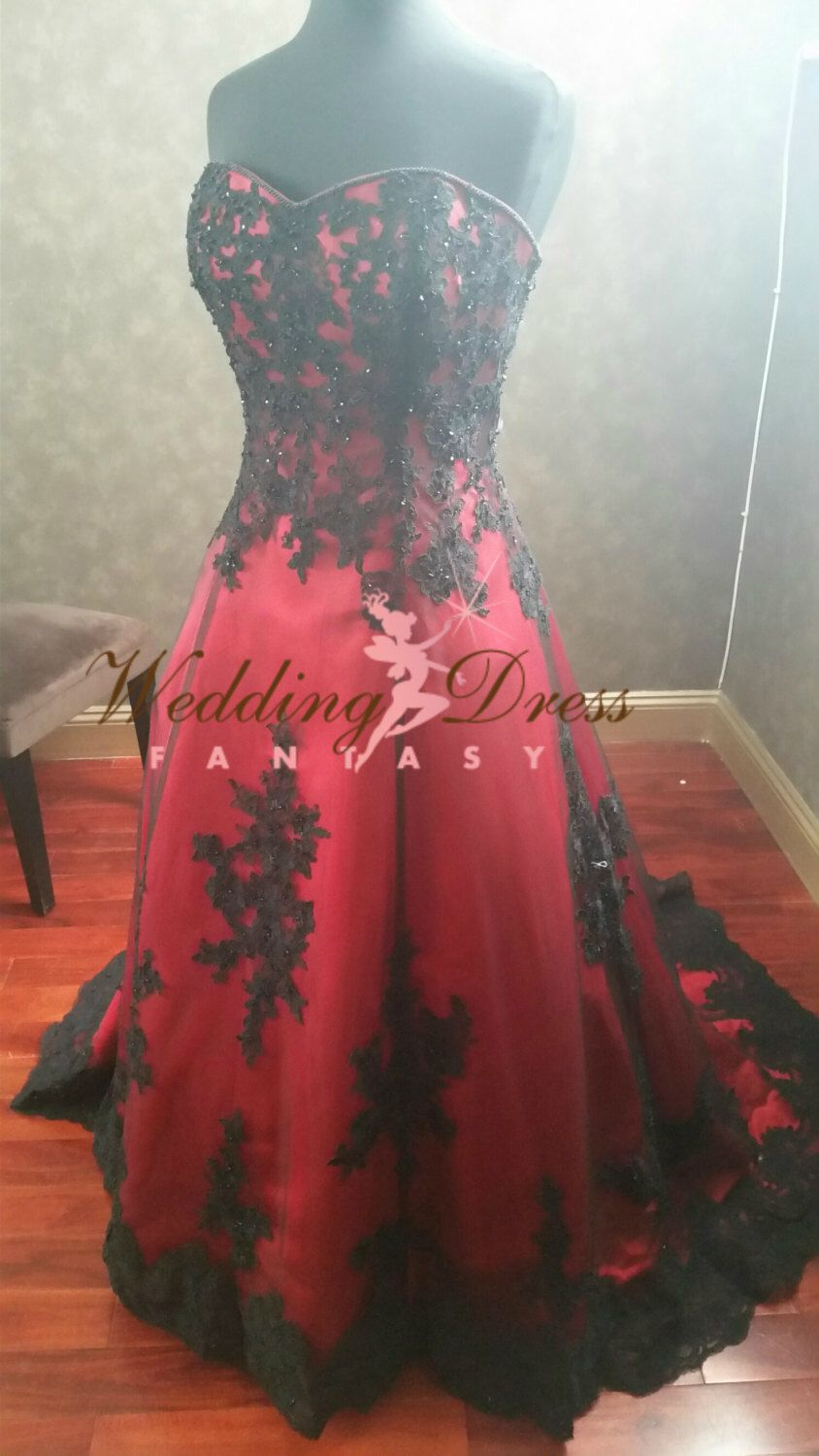 Gorgeous red and black wedding dress sweetheart neckline my time