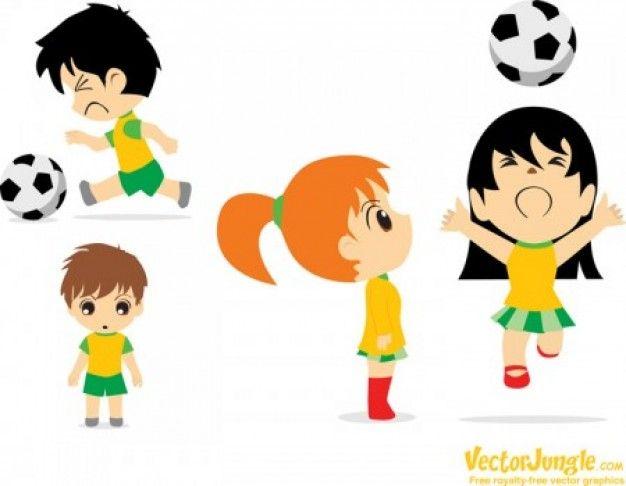 Niños y niñas jugando fútbol. Pesonajes de caricatura. | Fútbol ...