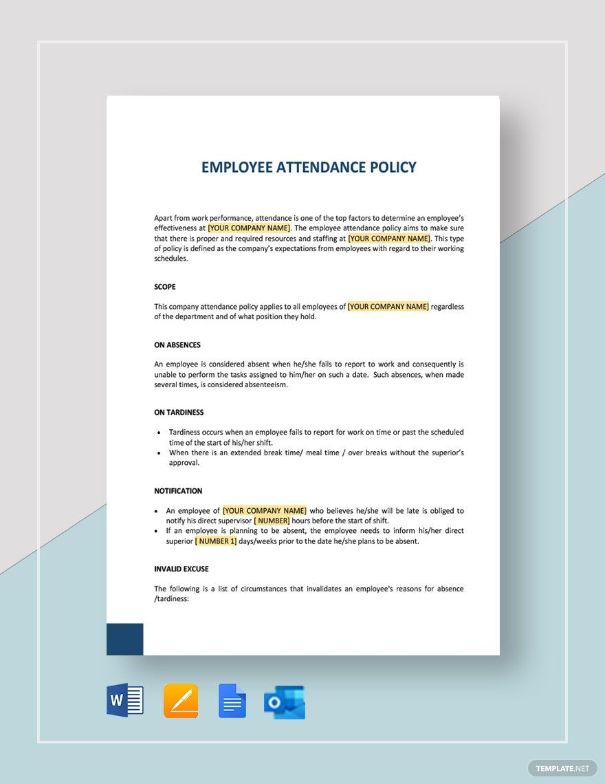 Employee Attendance Policy Template Word Doc Apple Mac Pages Google Docs Marketing Plan Template Memo Template Policy Template