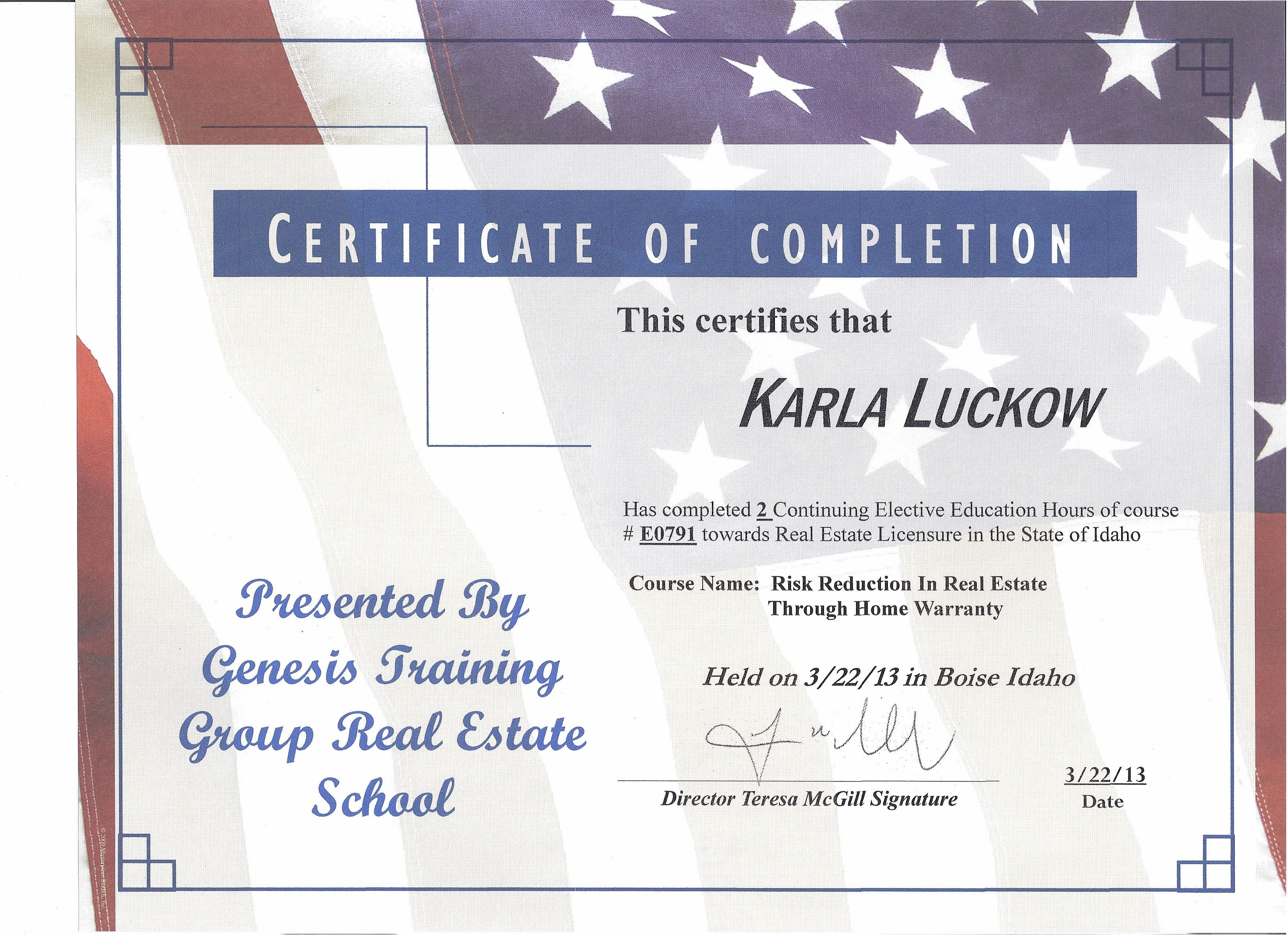 Risk Reduction In Real Estate Through Home Warranty Class