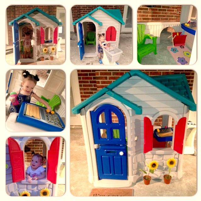 Little Tikes House Makeover I Found This At A Garage We Pressure Washed It First Then Ordered Replacement Grill Cover