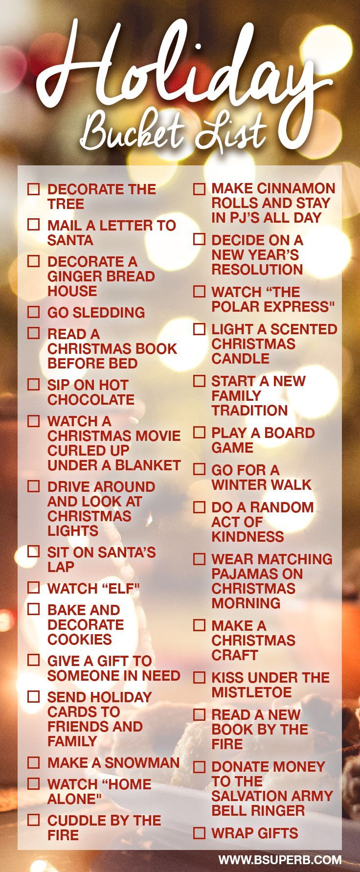 Holiday Bucket List Christmas holidays, Christmas love