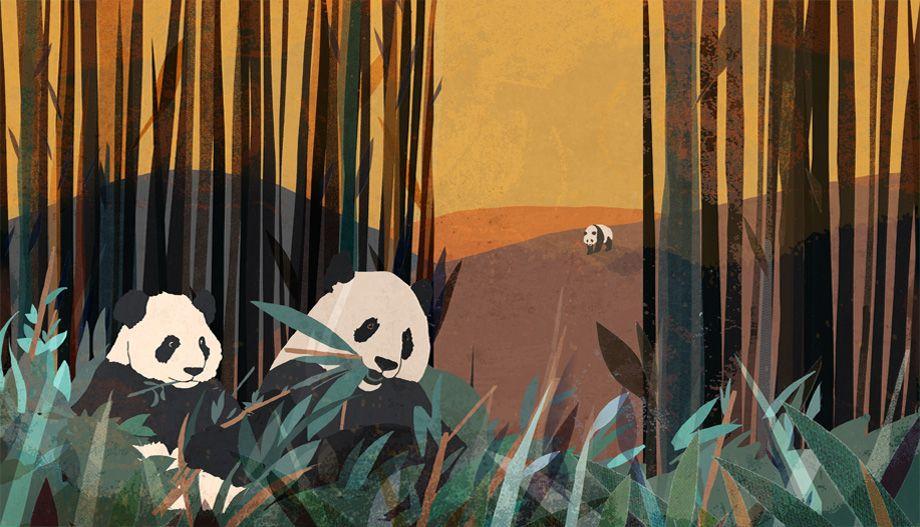 Great texture panda illustration