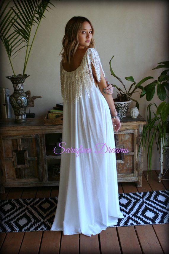 681de80674 Bohemian Cotton Nightgown Off White Cotton Sleepwear Honeymoon Cotton  Lingerie Gypsy Bridal Lingerie Embroidered Fringe Lace Nightgown