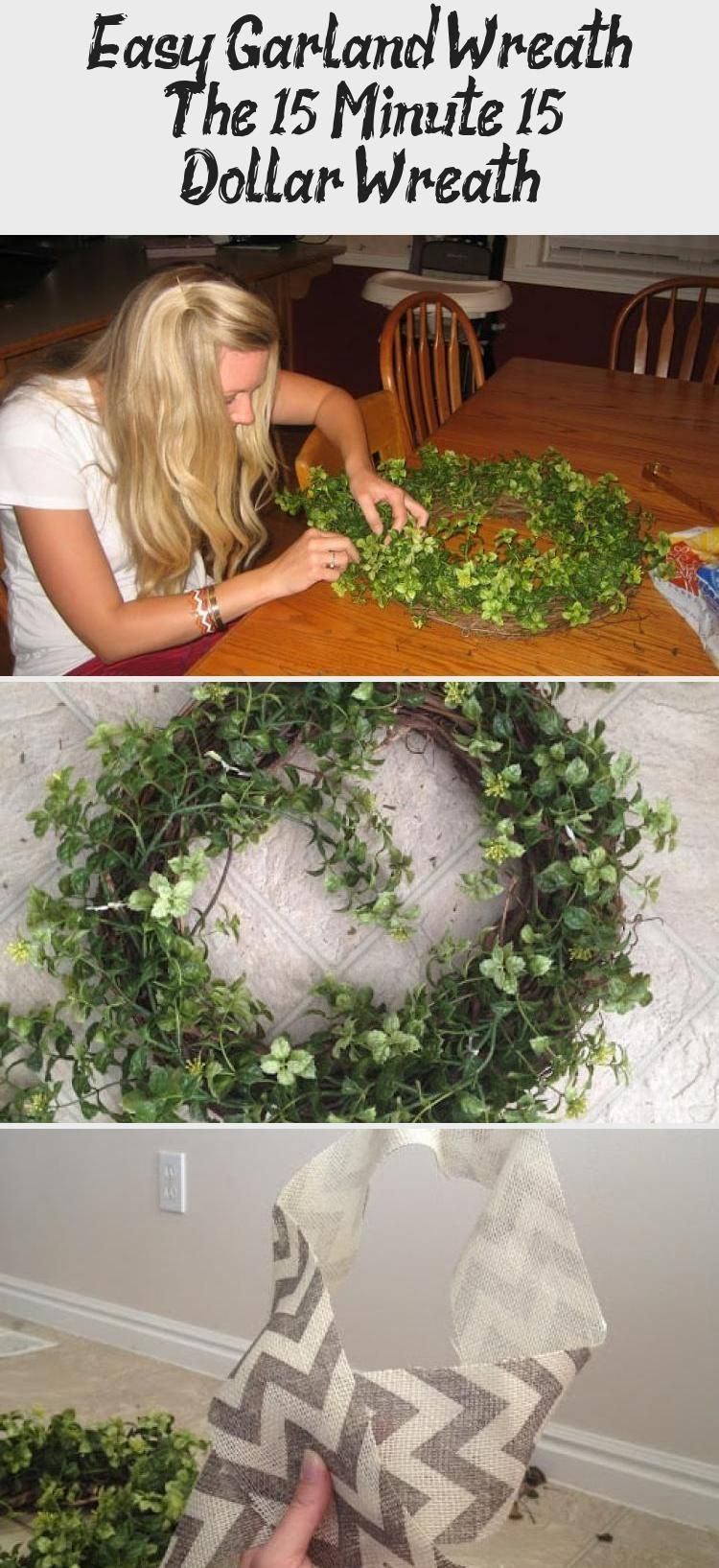 Easy Garland Wreath – The 15 Minute, 15 Dollar Wreath - DIY,  #DIY #Dollar #Easy #Garland #grapevinewreathdiydollarstores #Minute #wreath