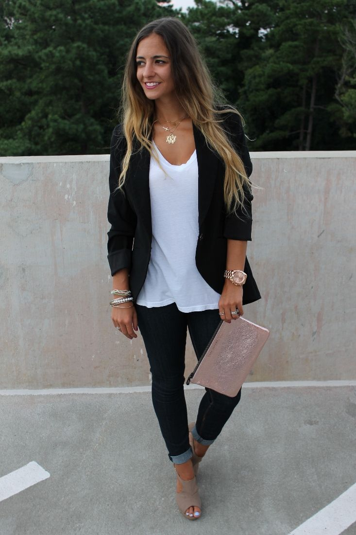 Plain black t shirt style - Every Sexy Nerd Needs A Black Blazer Like This Wear It With Jeans Dresses