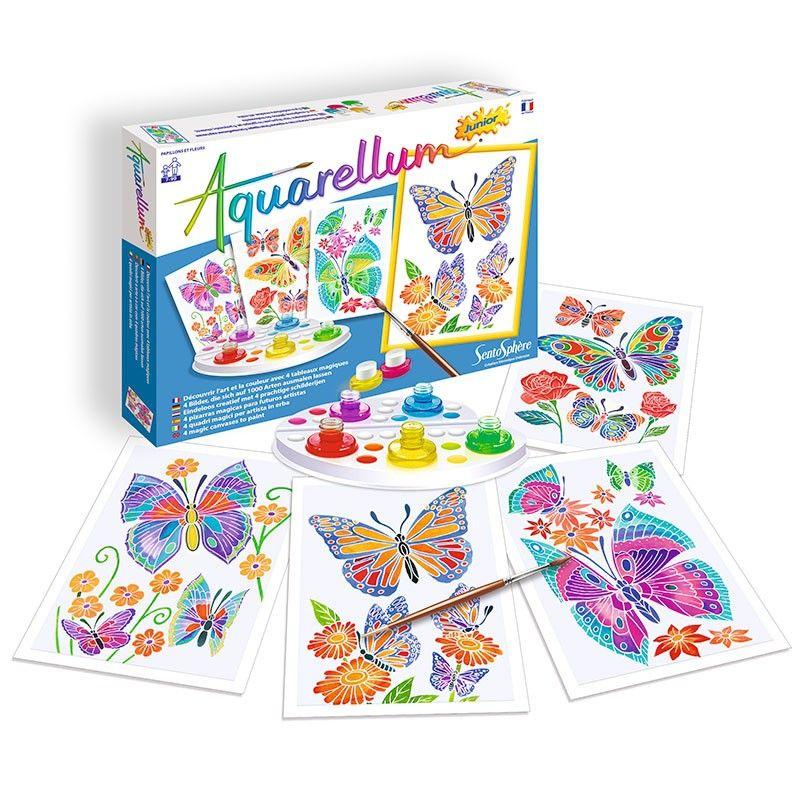 Aquarellum Junior Con Tematica De Mariposas Y Flores De
