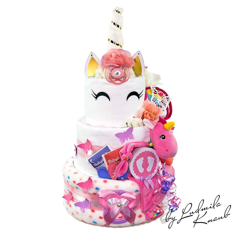 Baby-Geschenk zur Geburt Taufe Babyshower Auto-Motive MomsStory Windeltorte M/ädchen 2 St/öckig mit Baby-Schuhchen Pink