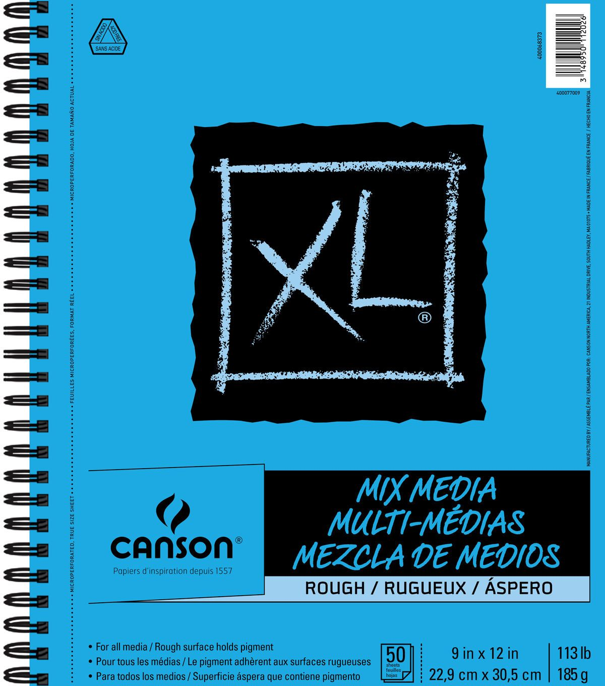 Canson Xl 9 X12 50 Sheets Spiral Mix Media Rough Pad