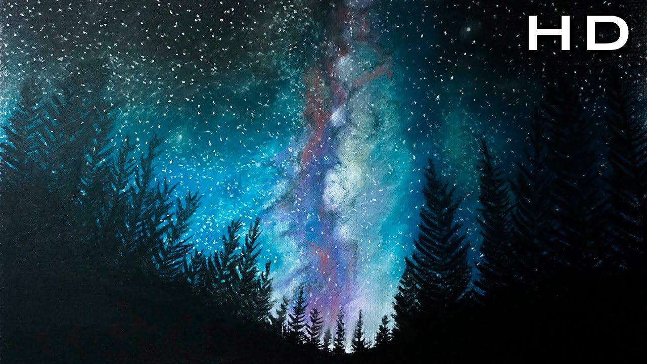 Como Dibujar A La Via Lactea Con Tizas Pastel Paso A Paso Como Dibujar Acuarela De Galaxia Arte De Silueta Pintar Con Pastel