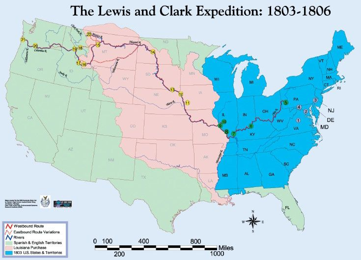 History Week Map Of Lewis And Clarks Expedition Overlayed With - Map of us 1806