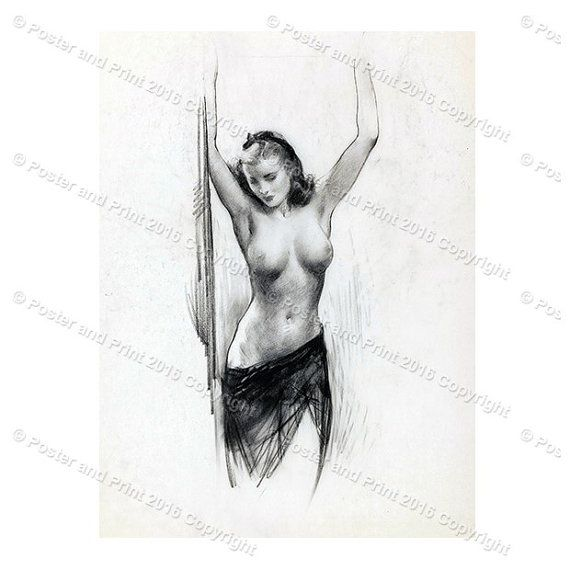 Nude with Lifted Arms sketch Reproduction of Gil Elvgren Pinup Wall ...