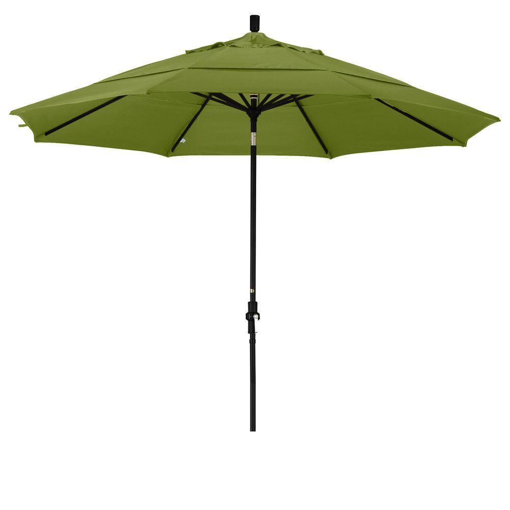Eclipse Collection 11' Aluminum Market Umbrella Collar Tilt DV Matted Black/Pacifica/Ginkgo