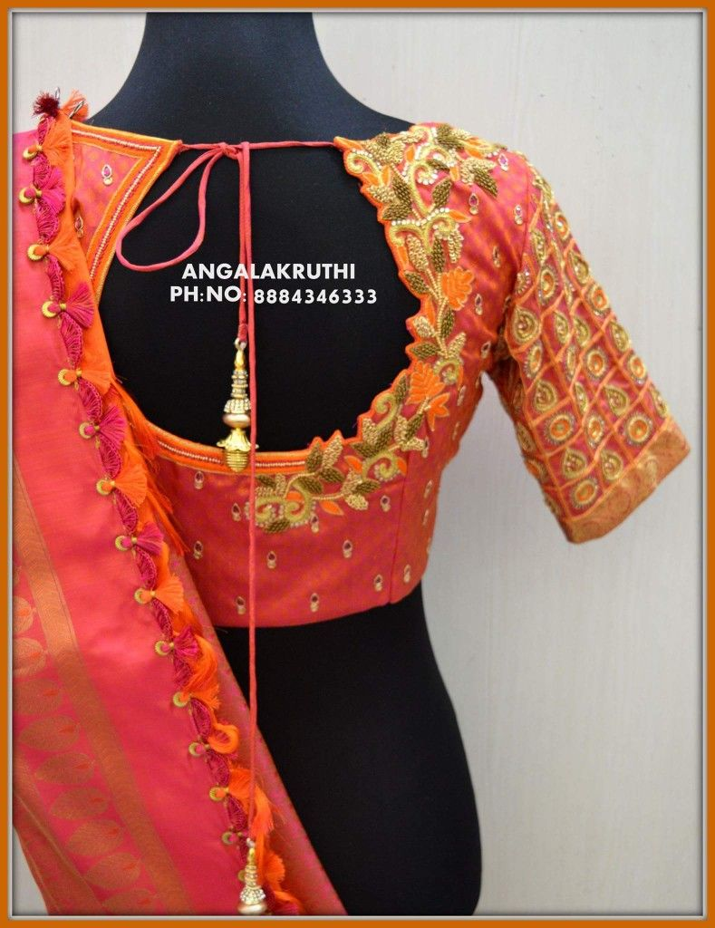 Bridal Blouse Neck Designs By Angalakruthi Boutique Bangalore Bridal Wear Designs By Embroidery Blouse Designs Designer Blouse Patterns Blouse Design Images