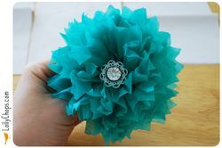 Another tissue paper flower and also instructions for using a bunch of these to make a pomander.