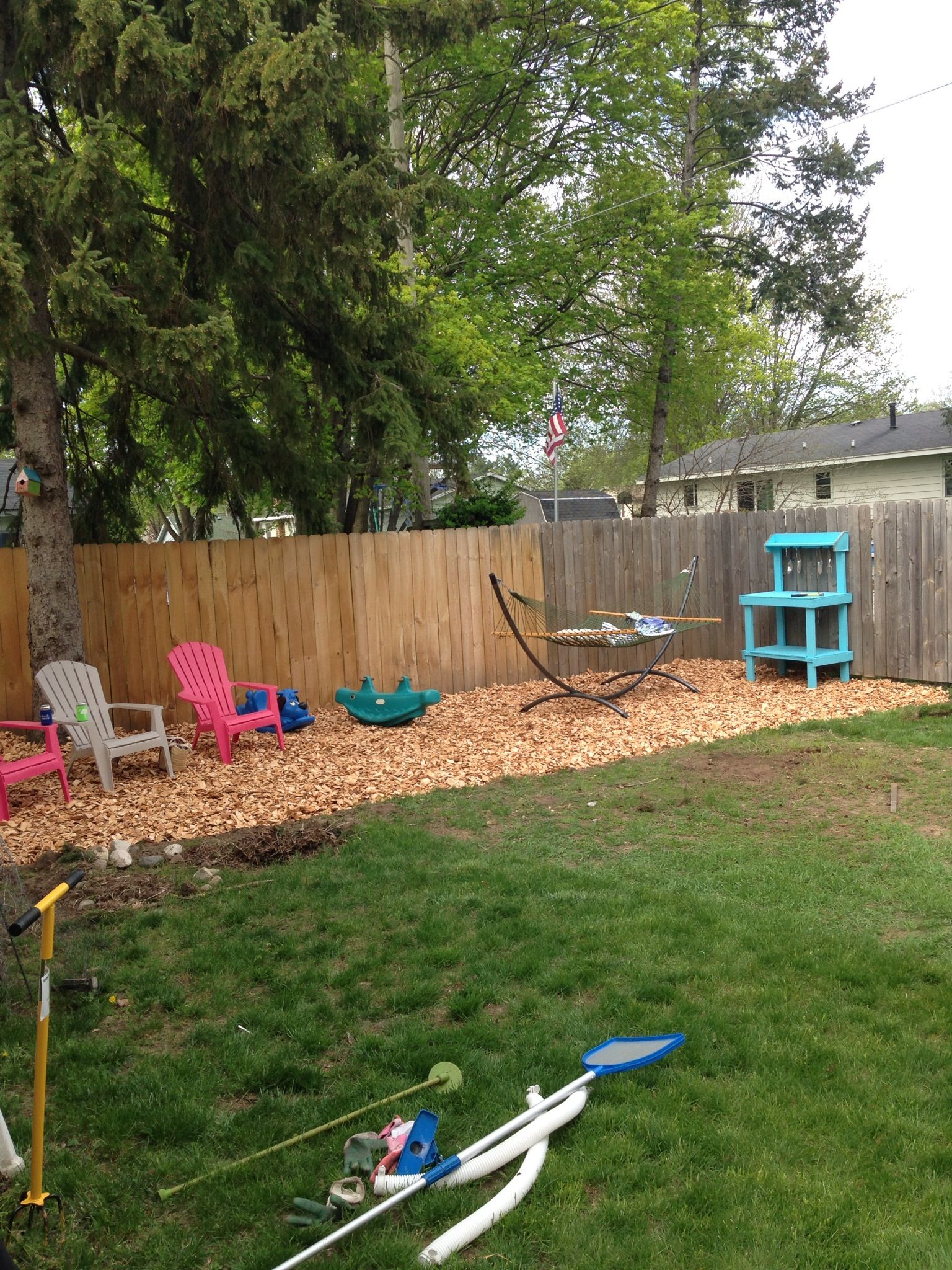woodchips for hanging out in backyard landscape house outdoors