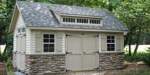 Fake Stone Siding Barn Style Shed Custom Sheds Shed Plans 12x16