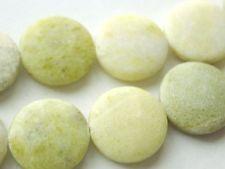 Light Green Precios Stone Light Green Jade 18mm Flat Round Opaque Semi Precious Stone Beads Green Stone Beading Supplies Stone