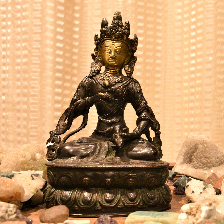 Vajrasattva statue , 9 inches , Vajrasatva statue , boddhisattva statue , buddhist goddess , vintage art , handmade #BrassSculpture #BuddhistGoddess #HinduBuddhistDeity #FemaleBuddhistIdol #BuddhaTaraStatue #YogaAltarDecor #BuddhistIdol #VajrasatvaStatue #TantricGoddess #VajrasattvaStatue