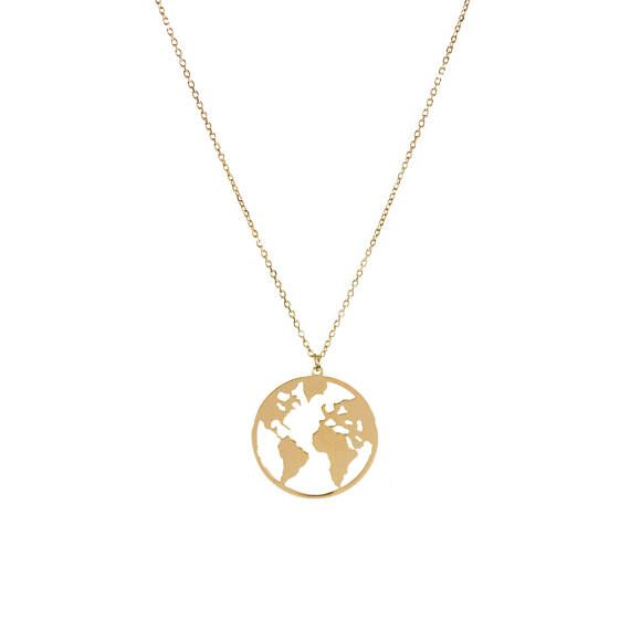 World map medal necklace this world map shaped medal necklace is world map medal necklace this world map shaped medal necklace is made of gold gumiabroncs Image collections