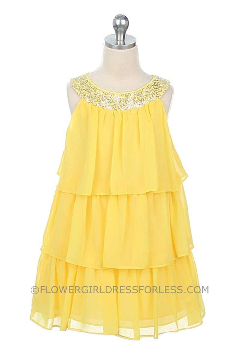 Flower Girl Dress Style 3707 Knee Length 3 Tier Chiffon Dress With