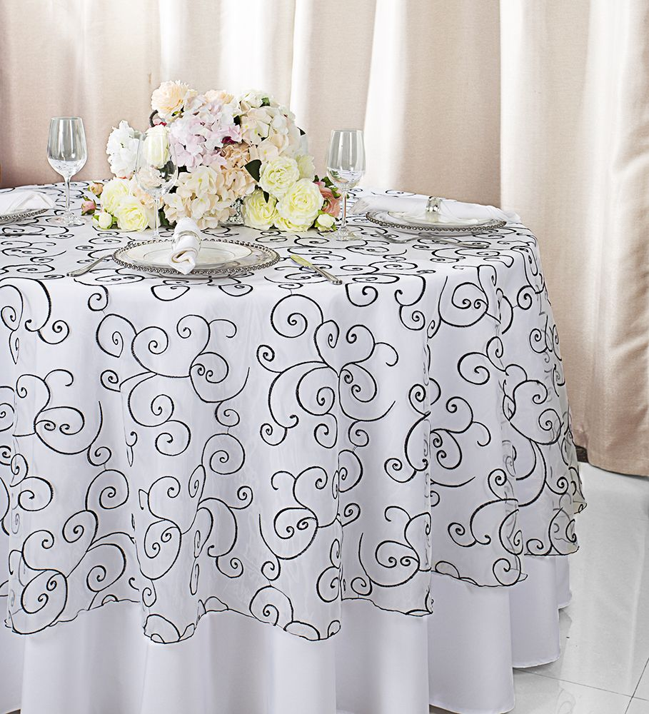 108 Round Embroidered Organza Table Overlay White Black 95869