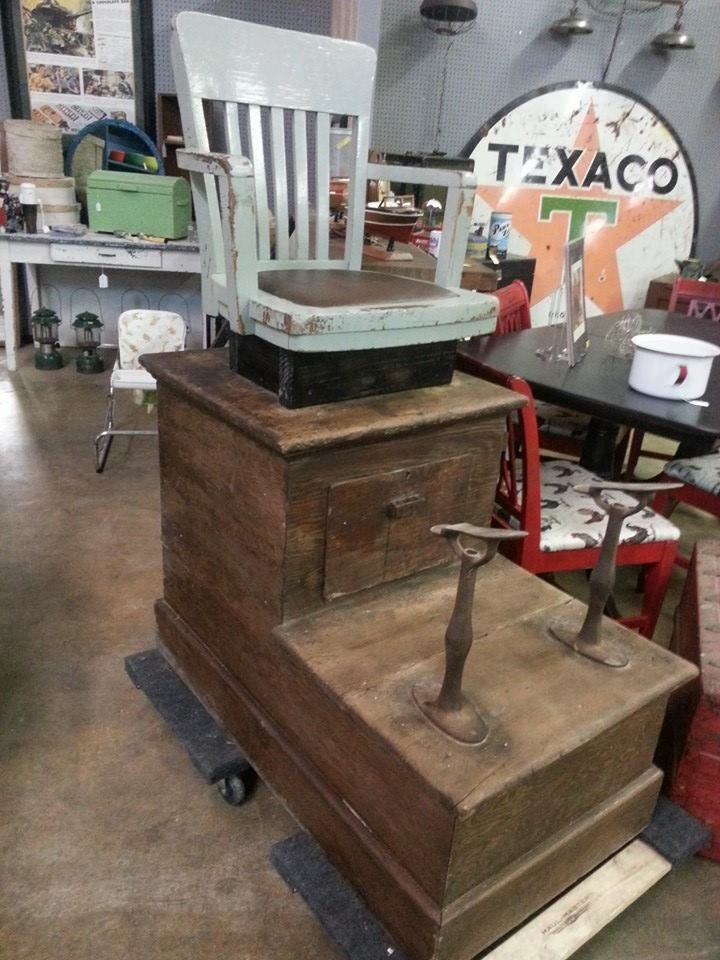 This antique shoe shine stand is now available at Ringgold Feed & Seed  Antiques. Just think about all the conversations that took place over the  years while ... - Here Is Another Interesting Find. This Antique Shoe Shine Stand Is