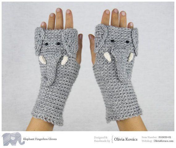 Elephant Fingerless Gloves ~ Handmade   Elefanten, Handschuh und ...