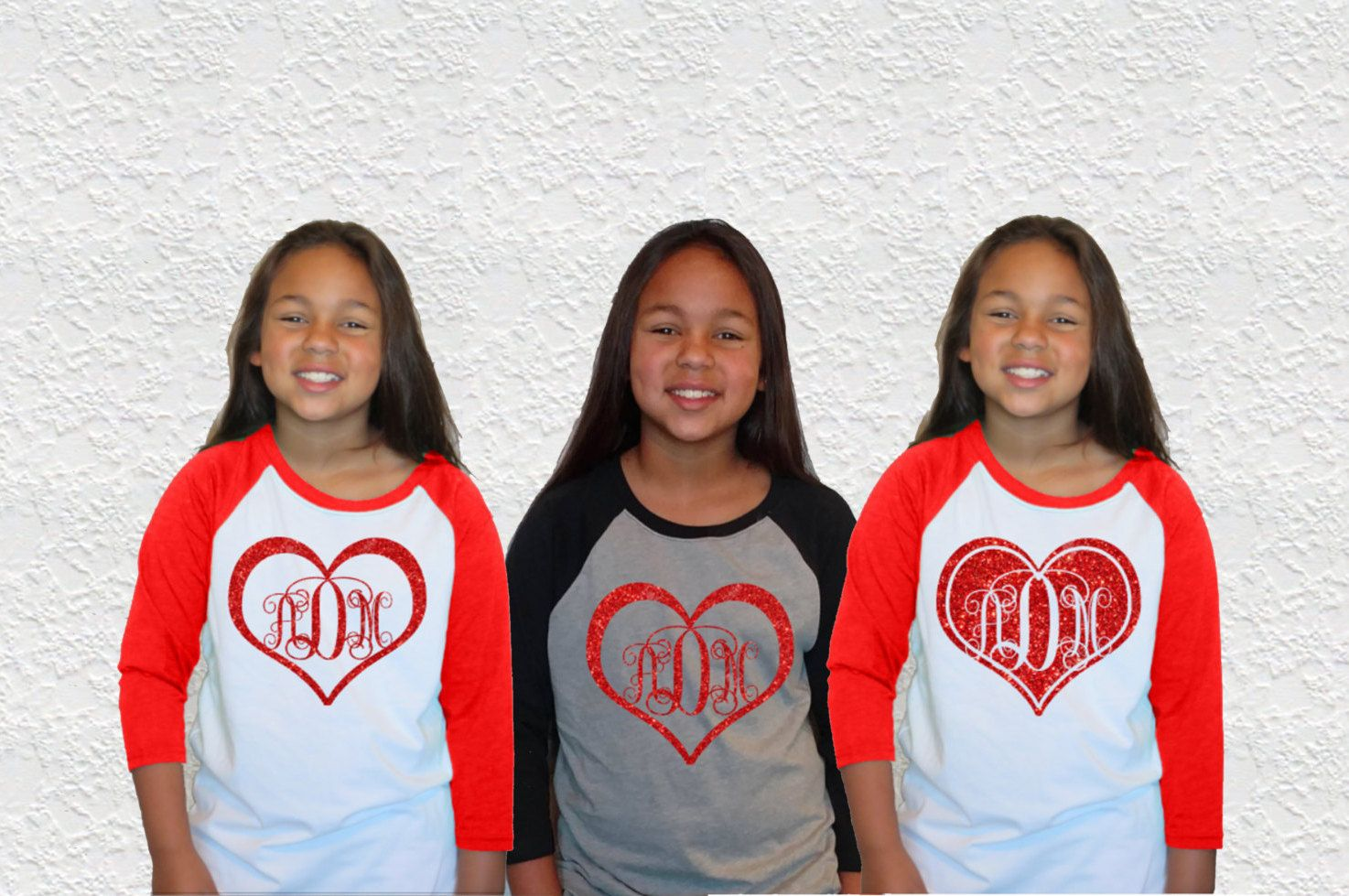 Valentine shirt|Valentine Heart Monogram Kids Glitter Baseball Raglan Tee|Youth|Kids Raglan Baseball t-shirt|Glitter Monogram tee by GavinsAllyeDesigns on Etsy