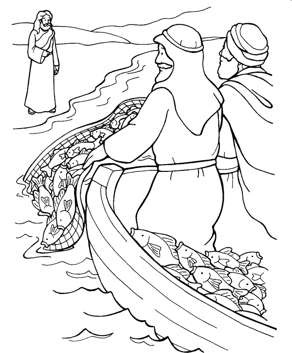 Jesus Calls His Disciples Bible Coloring Page